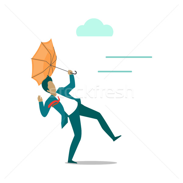 Strong wind Blowing on Man with Umbrella. Vector Stock photo © robuart