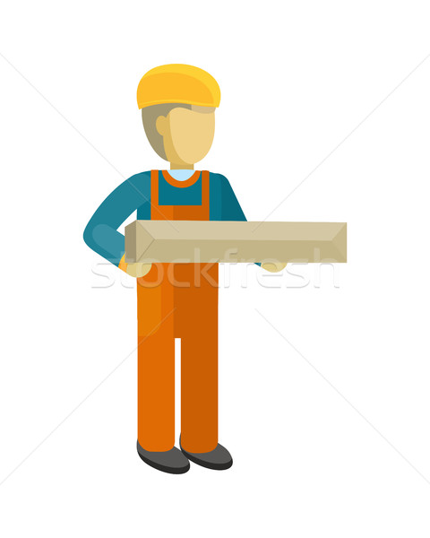 Delivery Man Worker Holds Package in his Hands Stock photo © robuart