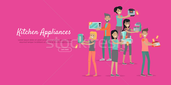 Kitchen Appliances. Set of People on Store Sale Stock photo © robuart
