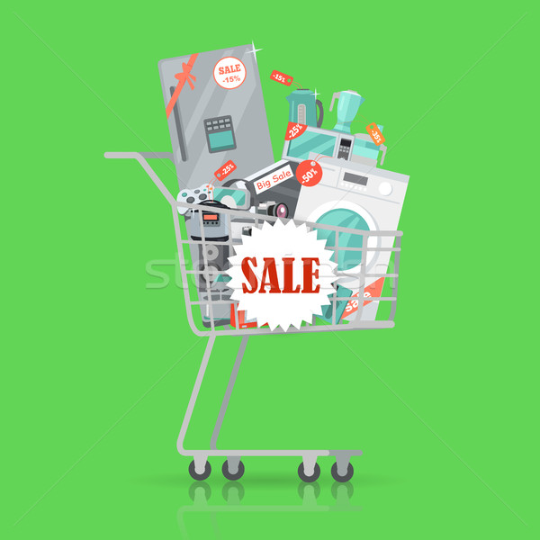 Super Sale Banner. Household Appliances in Trolley Stock photo © robuart