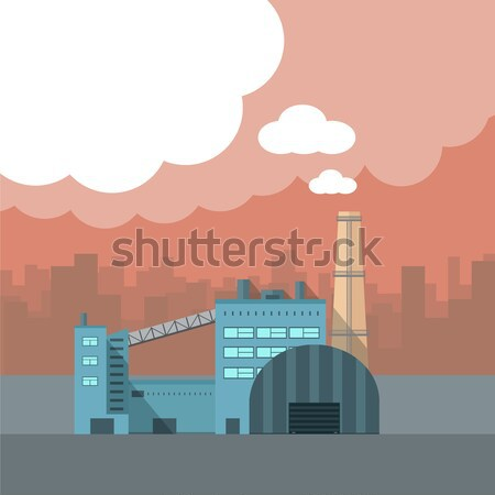 Industry Manufactory Building Isolated on White Stock photo © robuart