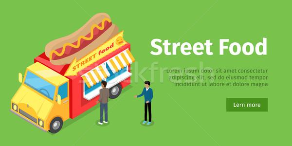 Foto d'archivio: Fast · food · camion · isometrica · proiezione · stile · persone