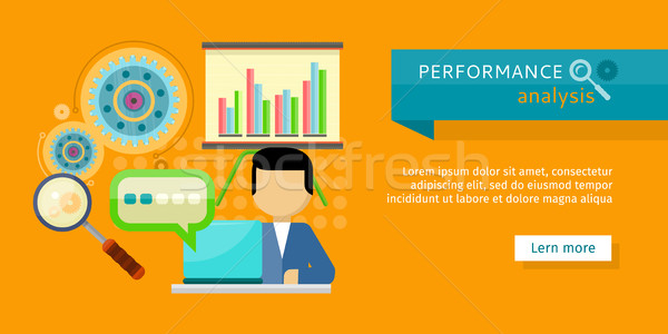 Performance Analysis Banner. Person Work at Laptop Stock photo © robuart