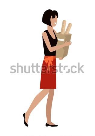 女性 日々 ショッピング パッケージ 笑顔の女性 赤 ストックフォト © robuart
