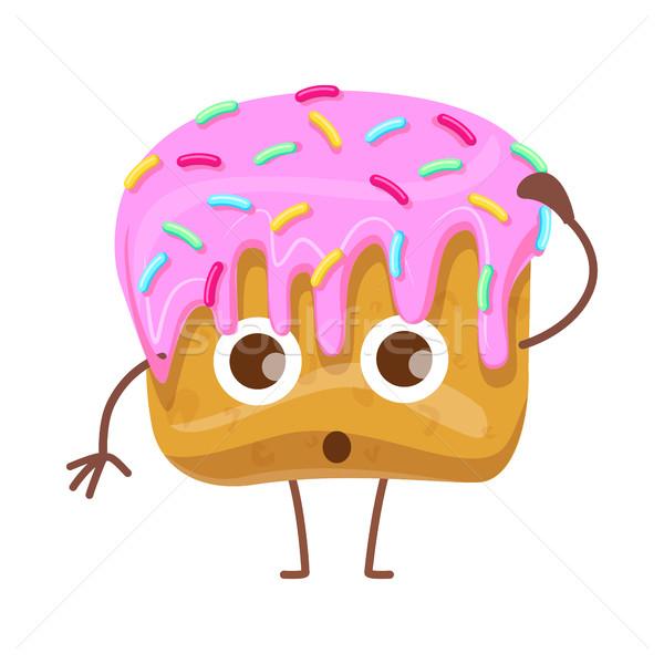 Cupcake with Topping. Confused Cartoon Character Stock photo © robuart
