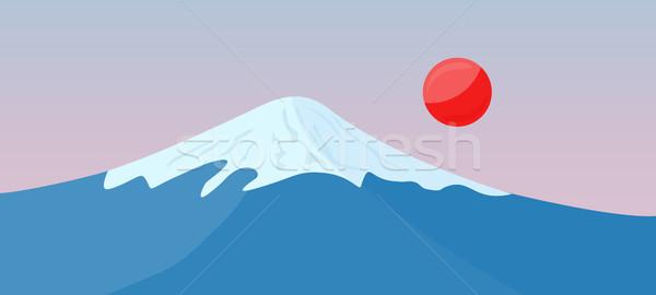 Fuji górskich śniegu górę czerwony słońce Zdjęcia stock © robuart