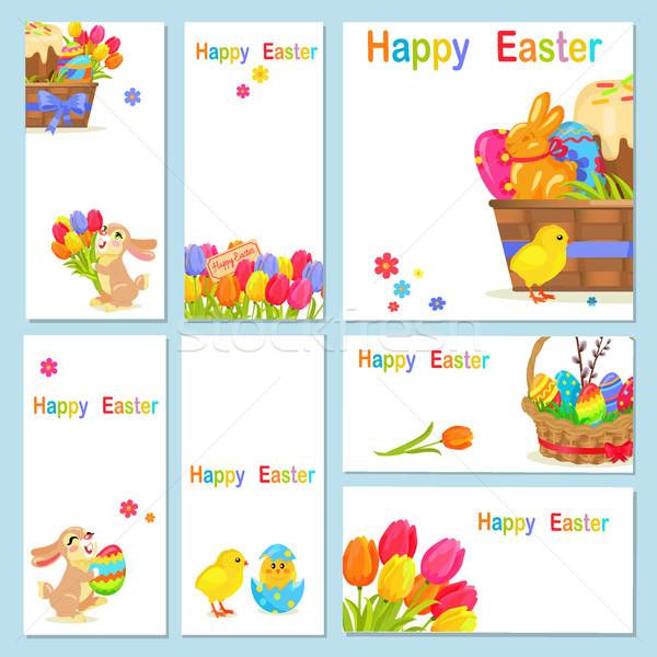 Сток-фото: Христос · воскрес · куриные · цветы · Bunny · желтый · весенние · цветы