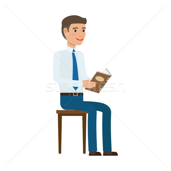 Businessman Reading Book at Chair Flat Vector Stock photo © robuart