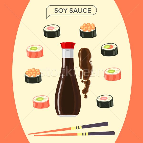 Soya sosu şişe sushi ayarlamak Çin yemek çubukları Stok fotoğraf © robuart