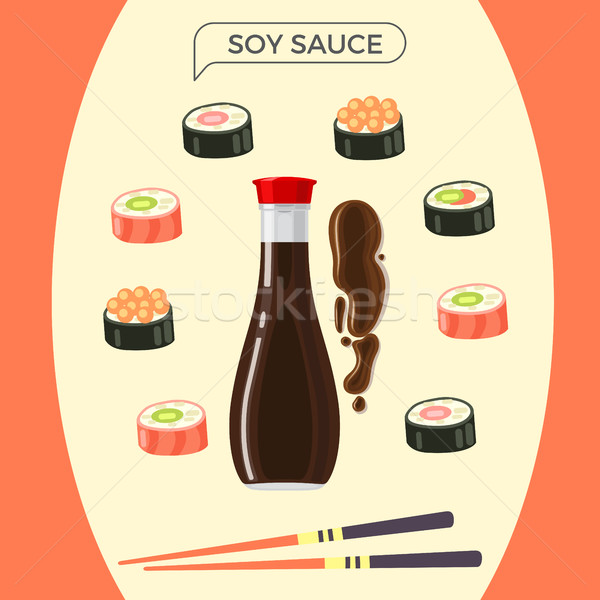 Sojasaus fles sushi ingesteld eetstokjes Stockfoto © robuart