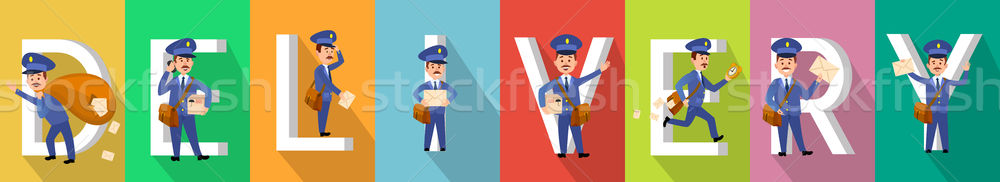 DELIVERY Picture Set with Mailman Characters. Stock photo © robuart