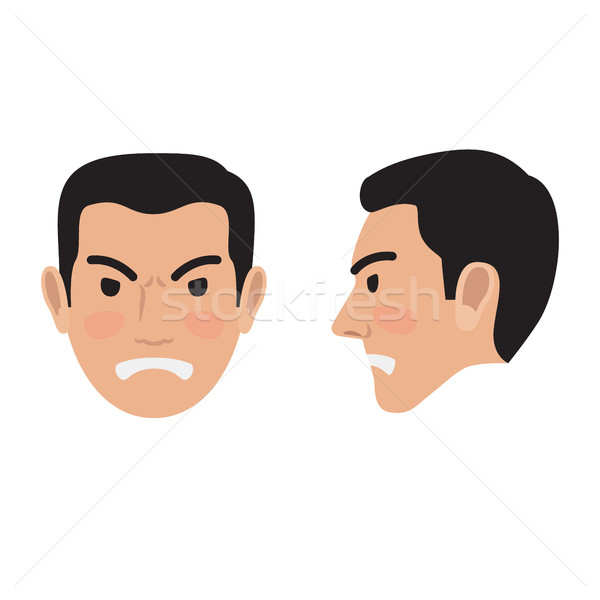 Stock photo: Angry Man Face From Two Sides Flat Vector Icon