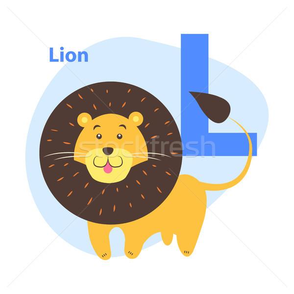Alfabeto icono Cartoon león letra l ninos Foto stock © robuart