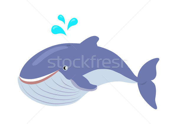 Blue Whale Cartoon Flat Vector Illustration Stock photo © robuart