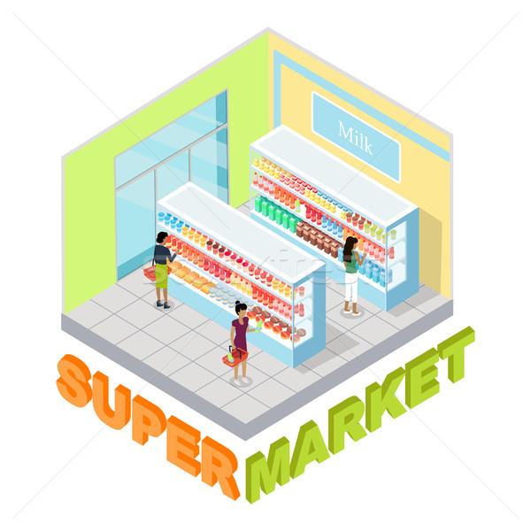 Supermarket Milk Department Isometric Vector Stock photo © robuart