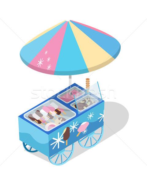 アイスクリーム カート ストア アイソメトリック ベクトル アイコン ストックフォト © robuart