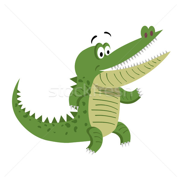 Cartoon crocodile permanent large ouvrir bouche Photo stock © robuart