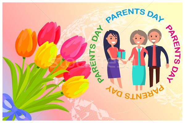 Gratuláció kártya dedikált szülők nap lánygyermek Stock fotó © robuart