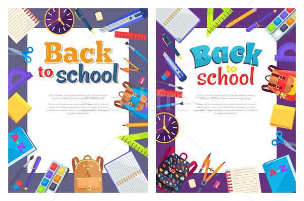 Stock fotó: Vissza · az · iskolába · poszter · hely · szöveg · keret · plakátok