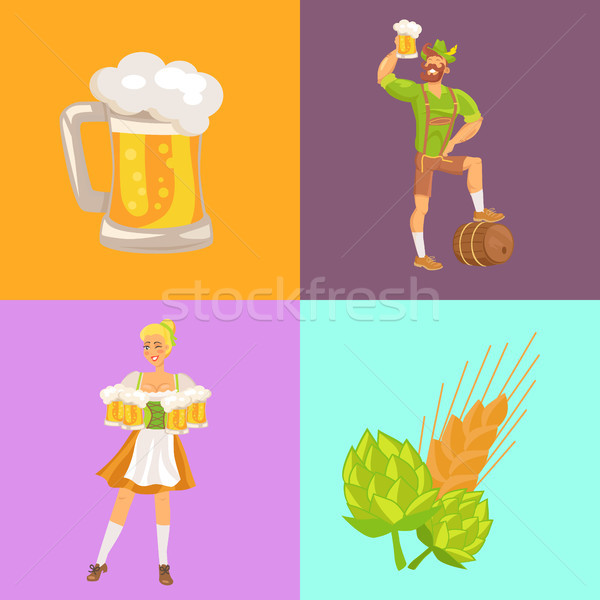 Bier symbolen oktoberfest serveerster man traditioneel Stockfoto © robuart