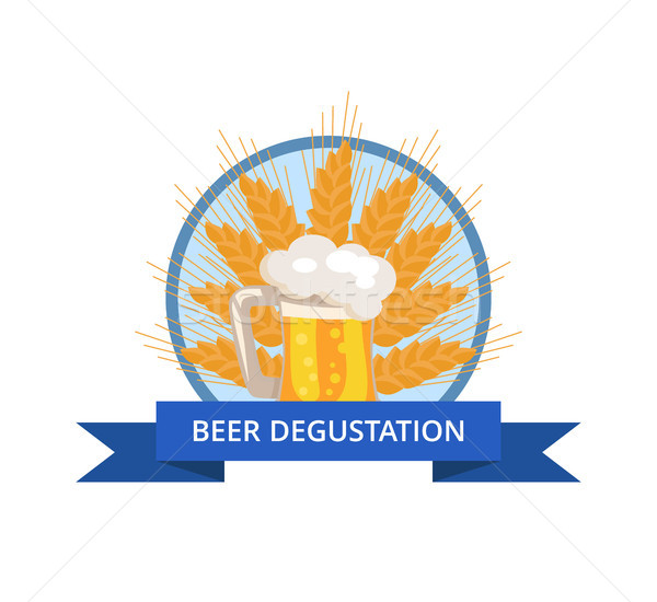 Beer Degustation Logo with Traditional Drink Foam Stock photo © robuart