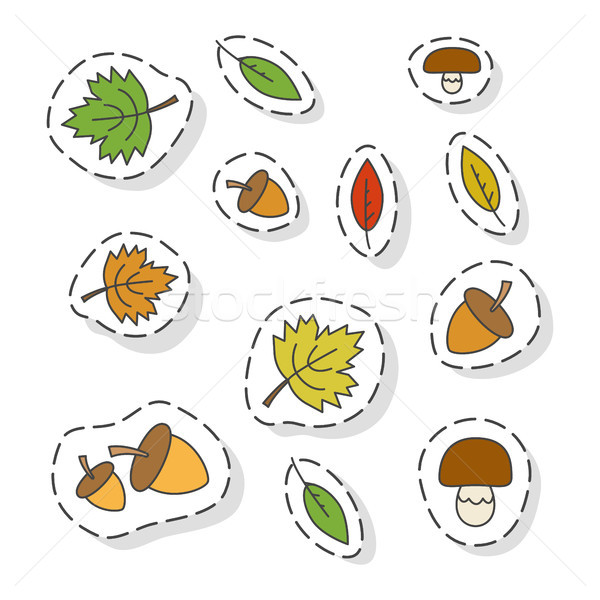 Autumn Forest Elements Flat Vector Stickers Set Stock photo © robuart