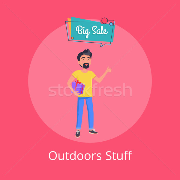 Outdoors Stuff Poster with Man Holding Gift Box Stock photo © robuart
