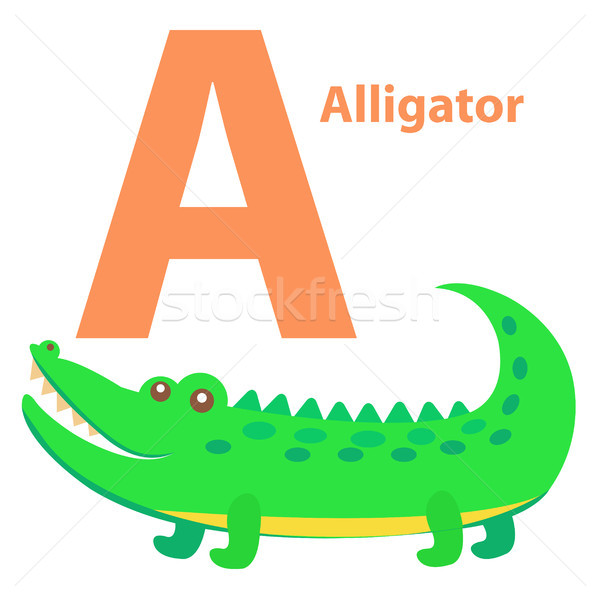 Alfabet kinderen brief alligator cartoon icon Stockfoto © robuart