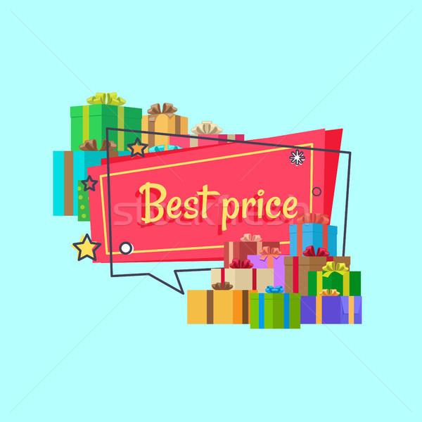 Beste prijs opschrift vierkante bubble presenteert Stockfoto © robuart