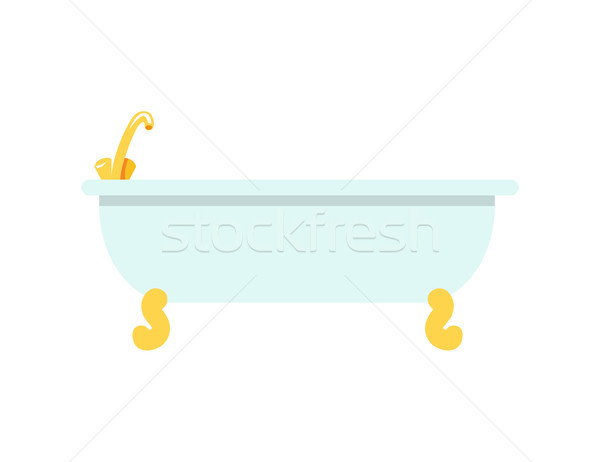 Tub with Golden Faucet Icon Vector Illustration Stock photo © robuart