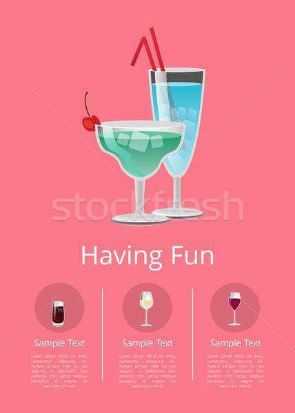 Foto stock: Clássico · álcool · bebidas · anúncio · cartaz · azul
