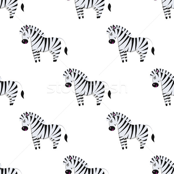 Cartoon Zebra Seamless Pattern on White Vector Stock photo © robuart