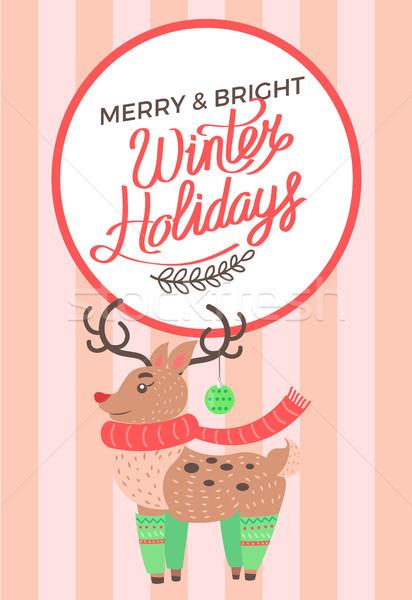 Neşeli Noel ren geyiği parlak kış tatil Stok fotoğraf © robuart