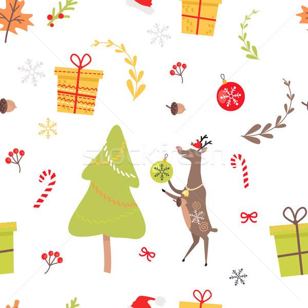 Reno Navidad decorativo rojo Foto stock © robuart