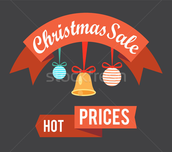 Christmas Sale Hot Prices Promo Poster with Balls Stock photo © robuart