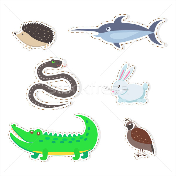Cute Animals Cartoon Flat Vector Stickers Set Stock photo © robuart