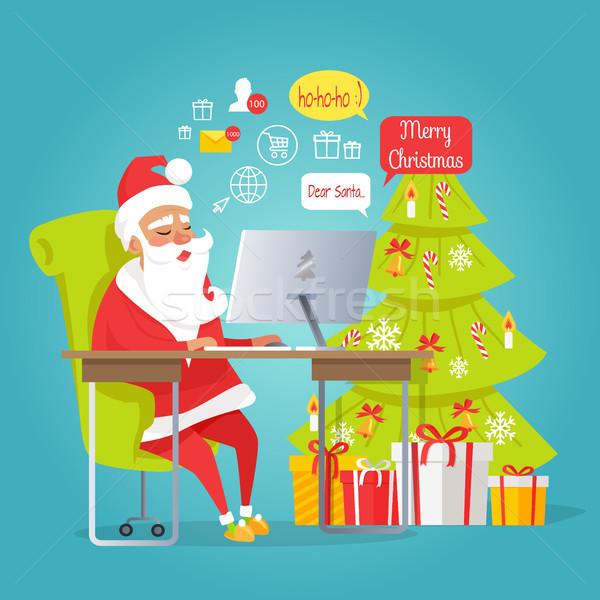 Santa Mail. Merry Christmas. Man Reading Letters Stock photo © robuart