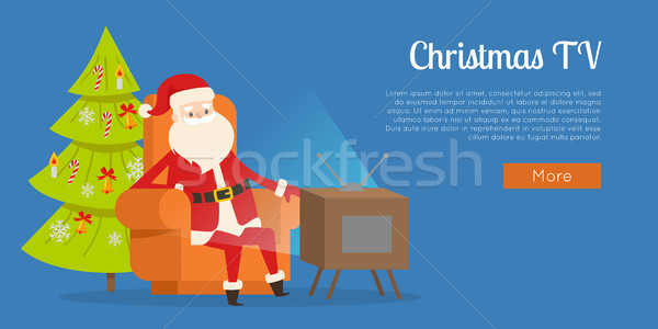Christmas TV Calm Rest Concept Vector Illustration Stock photo © robuart