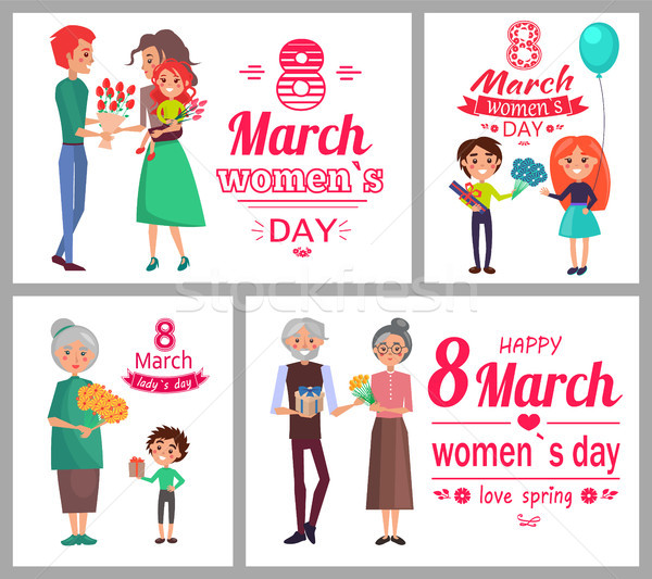 8 March Womens Day Poster Set Vector Illustration Stock photo © robuart