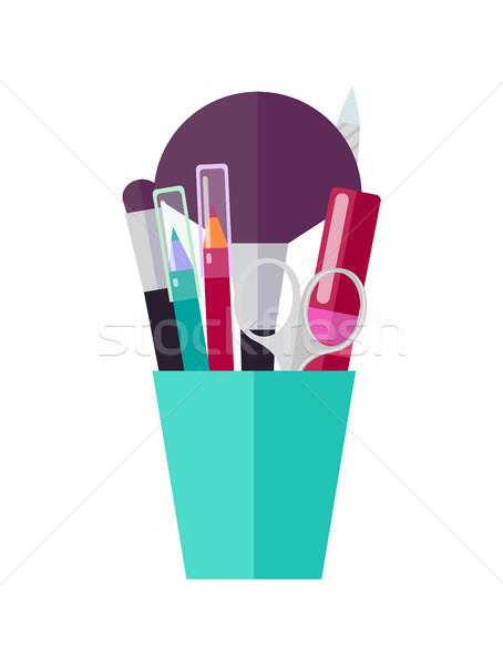 Makeup Tools and Applicators in Bright Plastic Cup Stock photo © robuart