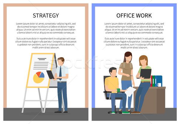 Stratégia irodai munka szett plakátok munkások készít Stock fotó © robuart