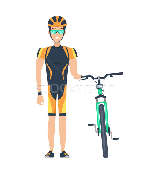 Cyclist Standing by Bicycle Vector Illustration Stock photo © robuart