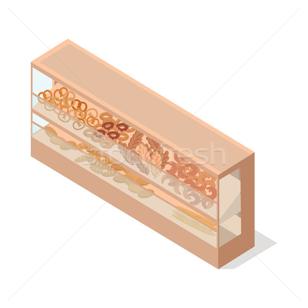 Stock photo: Pastries in Groceries Showcase Isometric Vector