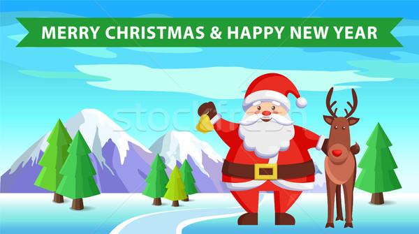 Дед Мороз северный олень икона веселый Рождества с Новым годом Сток-фото © robuart
