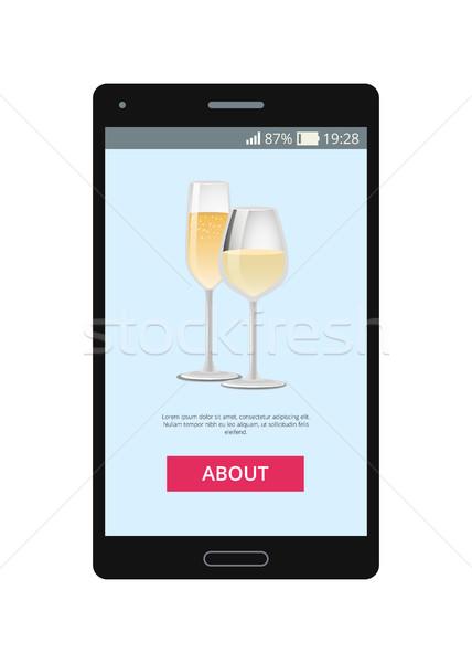 şampanya gözlük cep telefonu uygulama simgeler içecekler Stok fotoğraf © robuart