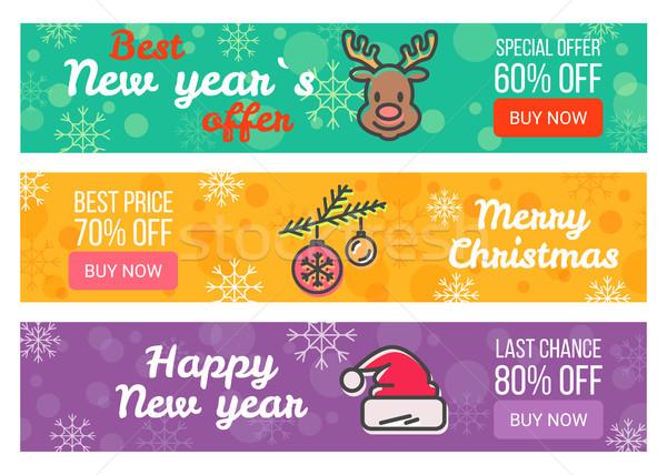 Három vásár plakátok akció vidám karácsony Stock fotó © robuart