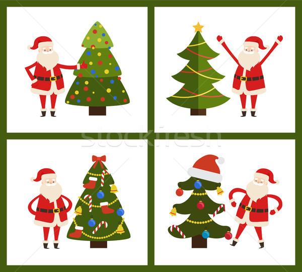 Santa Claus and Christmas Tree Vector Illustration Stock photo © robuart