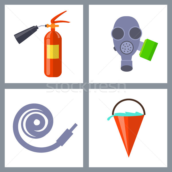 Set with Icons of Special Firefighting Equipment Stock photo © robuart