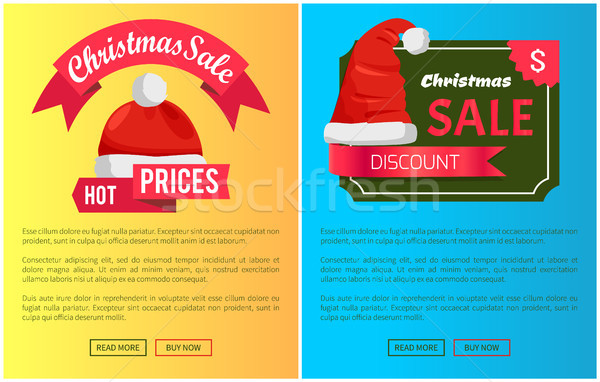 Hot Prices Santa Claus Hats Promo Labels Christmas Stock photo © robuart