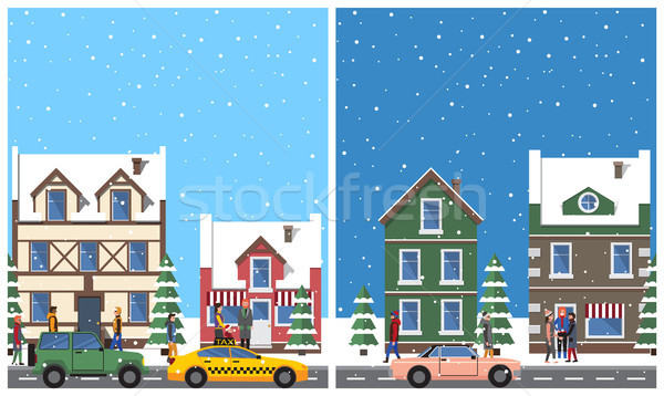 Winter in City Placards Set Vector Illustration Stock photo © robuart